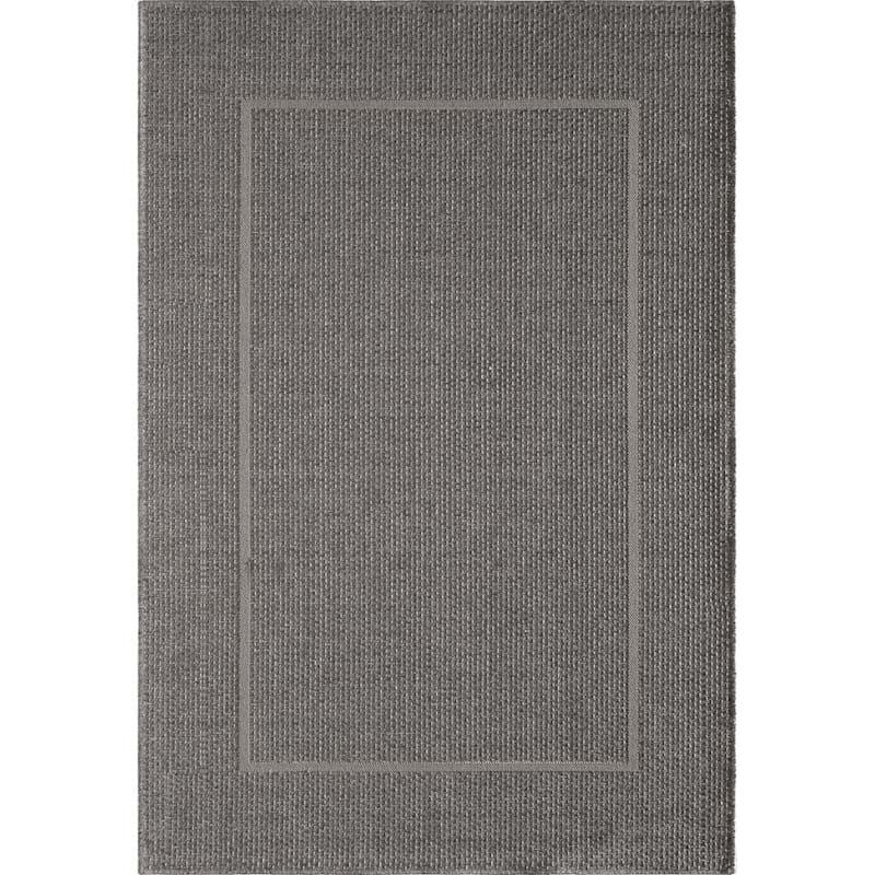 (E195) Longfloats Grey & Natural Indoor/Outdoor Woven Area Rug, 5x7