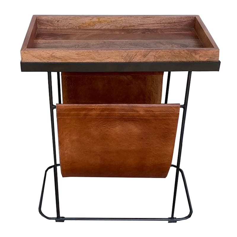Tray Top Table with Magazine Rack
