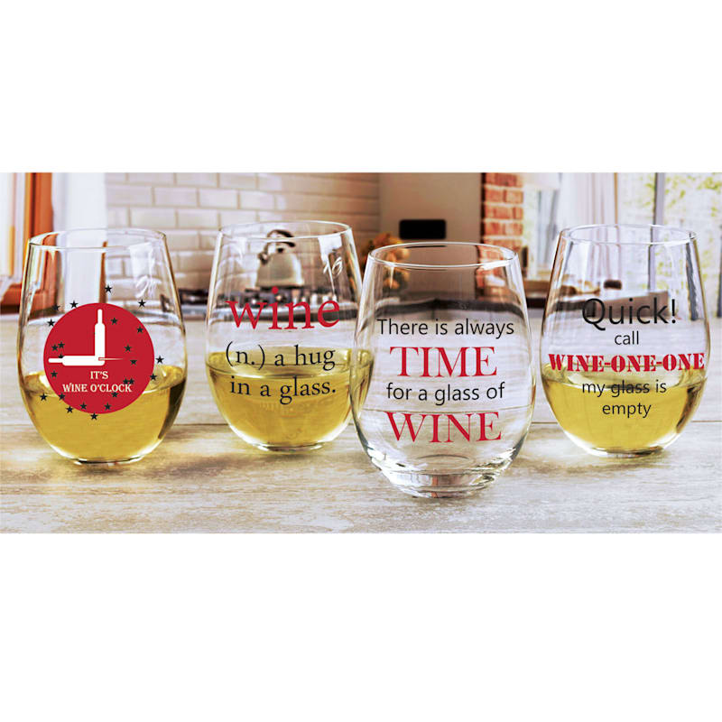 Wine Time Humorous Decaled Stemless Wine Glass Set 4