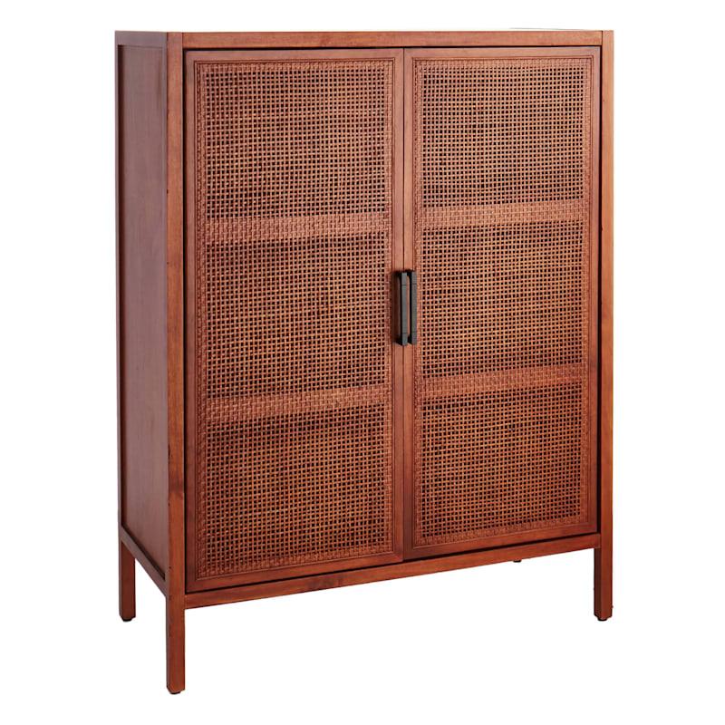 47in. Rattan 2 Door Wood Cabinet