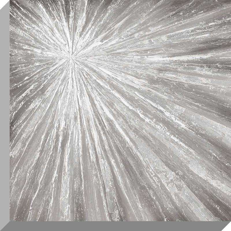 24X24 Silver Sunburst Enhanced Canvas