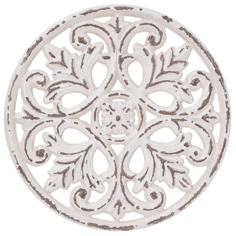 12X12 Distressed White Metal Medallion