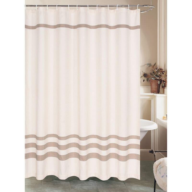 Brown Stripe Waffle Weave Shower Curtain 70X72