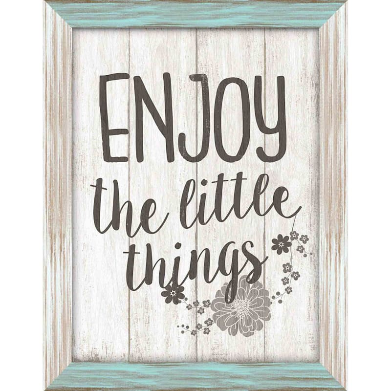 12X16 Enjoy The Little Things Textured Art With Two Tone Frame