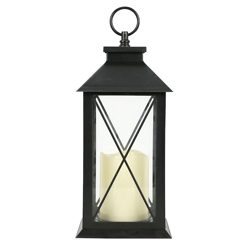 6X11 Led Plastic Lantern Black