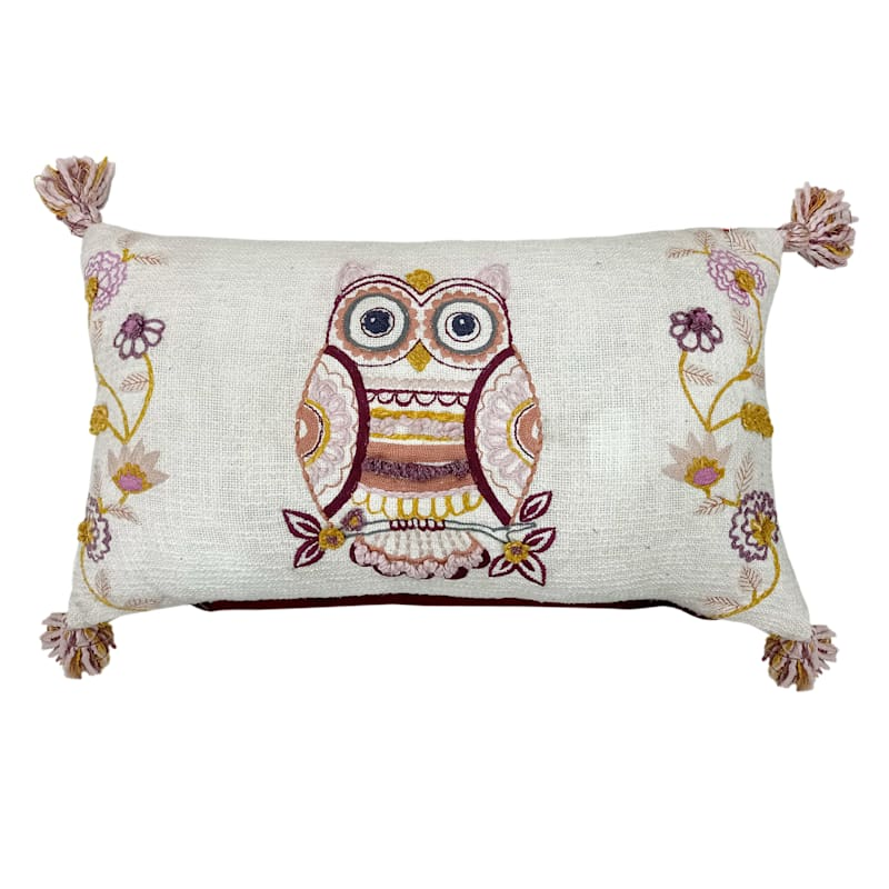 14x24 Pink Owl Throw Pillow with Tassels