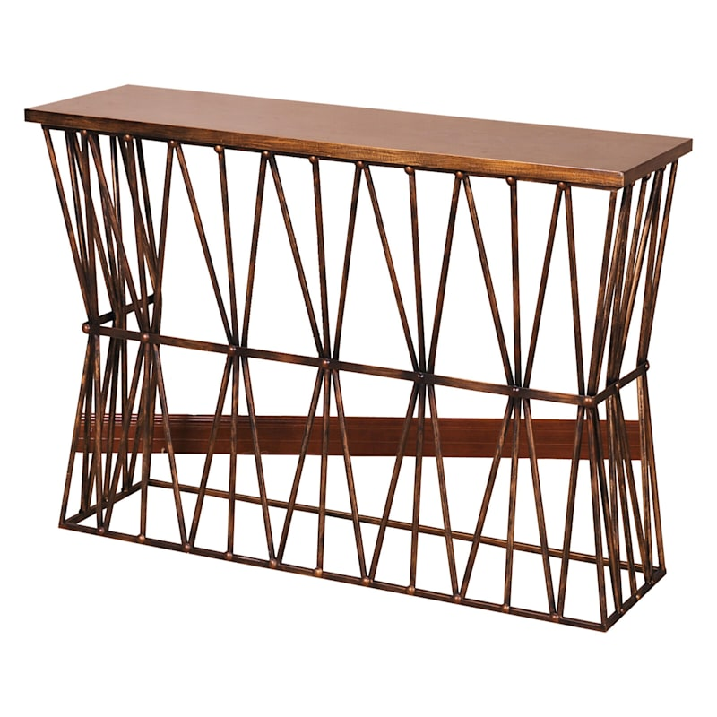 46in. Twisted Ribbon Iron Base Console Table