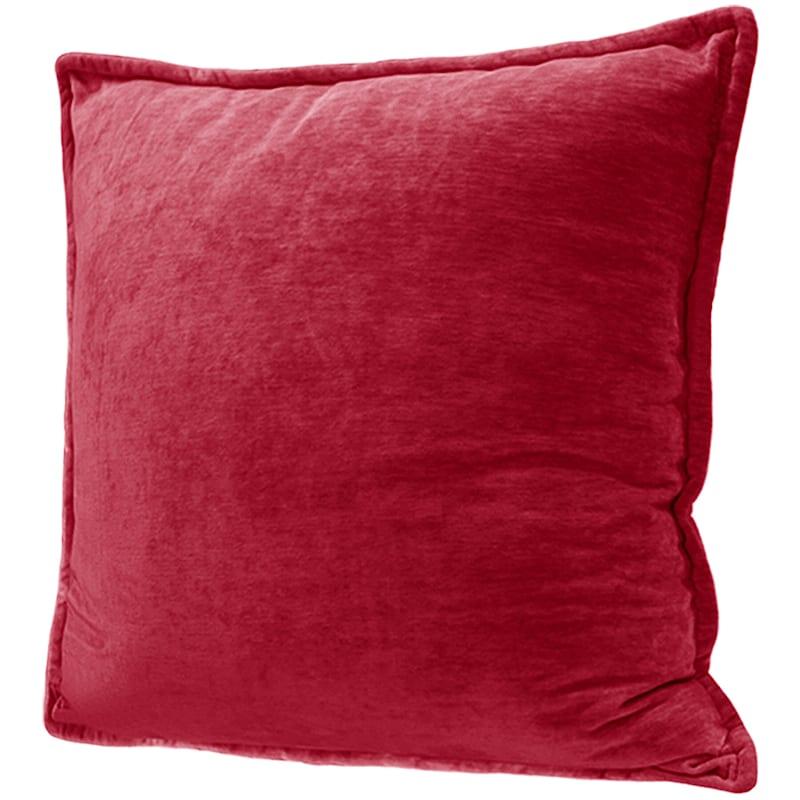 Maya Red Chenille Velvet Pillow Chilli 24X24
