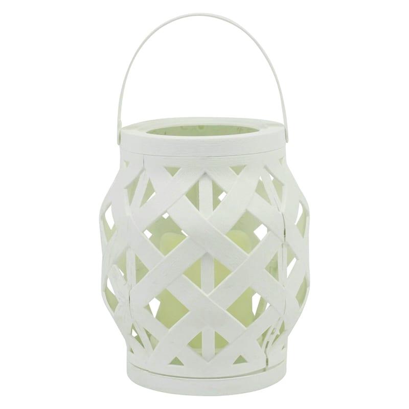 6X6 Plastic Rattan Lantern W/Led Candle Timer Function Weatherproof White