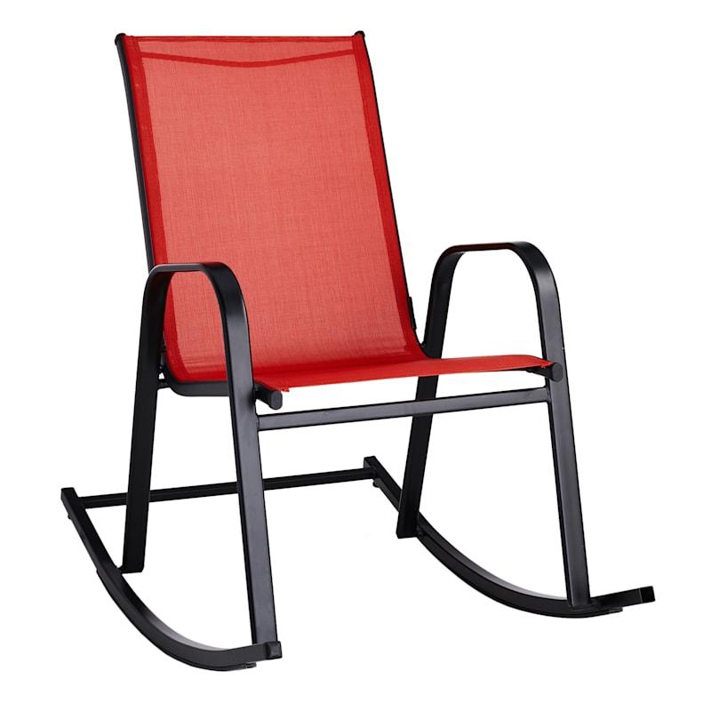 Red Outdoor Steel Sling Rocker