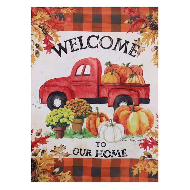 Suede Pumpkin Farm Truck Garden Flag