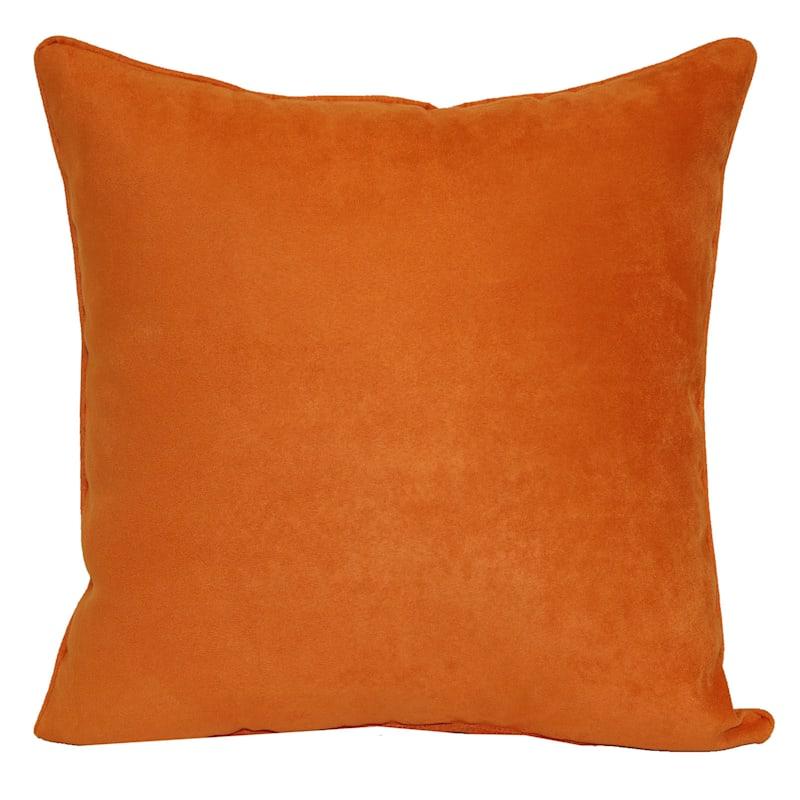 Orange Heavy Faux Suede Pillow 18X18