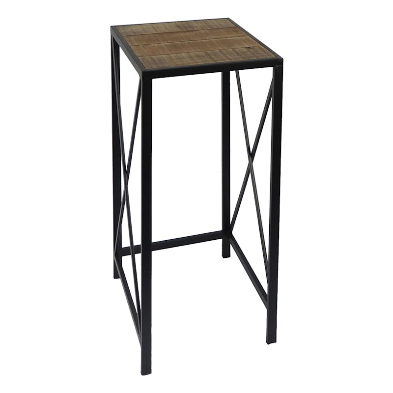 Wood Top X Side Plant Stand With Metal Base, Large