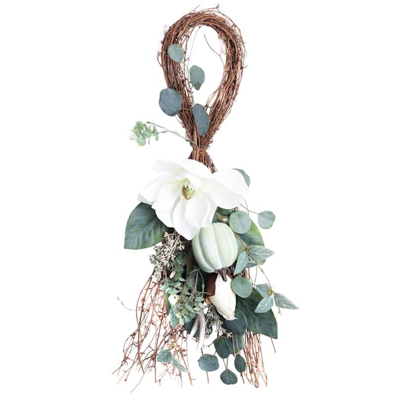 White Magnolia & Pumpkin With Leaves Teardrop Arrangement