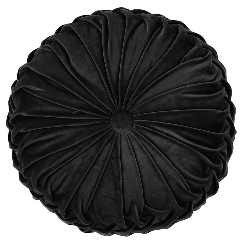 Holan Black Pleated Velvet Round Pillow With Button 16in.