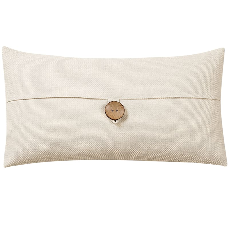 Clayton Ivory Feather Filled Coconut Button Pillow 13X24