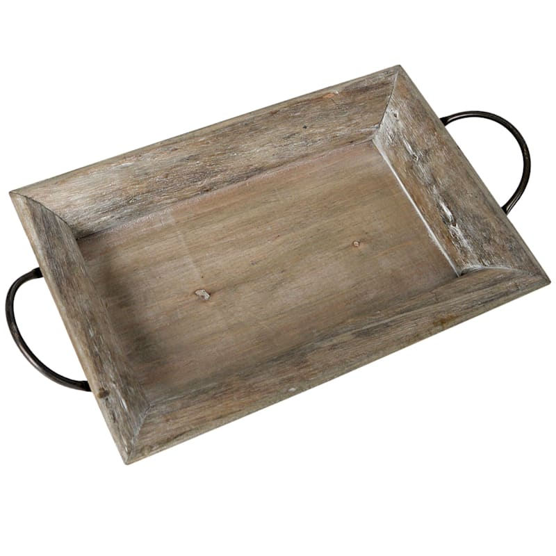 20X11 Wood Rectangle Rustic Tray With Metal Handle