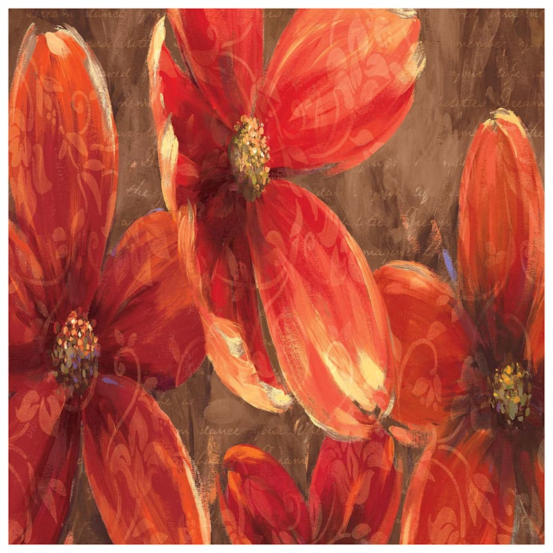 36X24 Red Floral Canvas