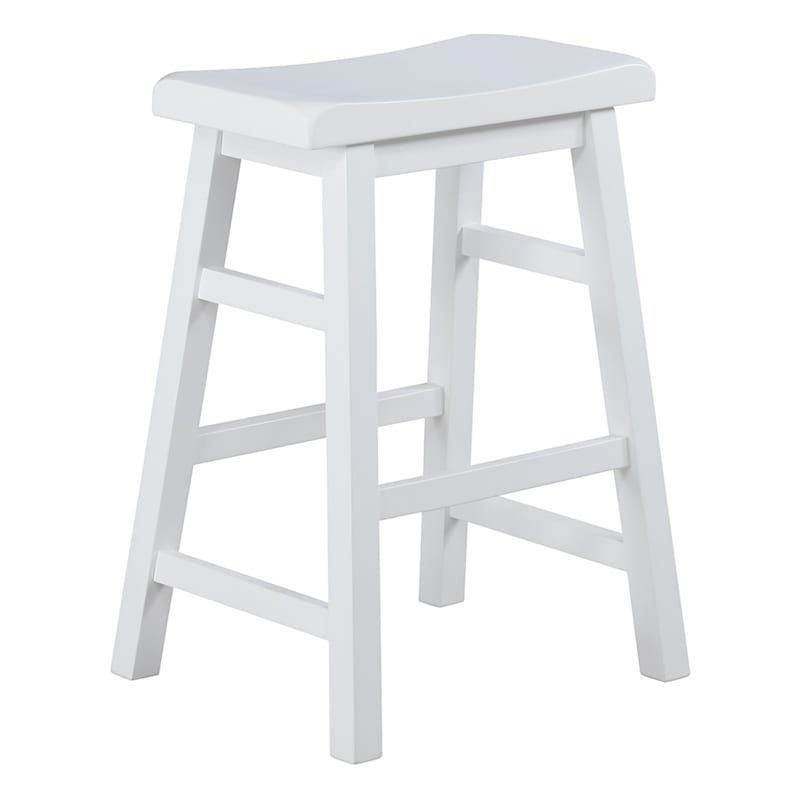 """White Saddle Backless Counterstool Easy to Assemble, 24"""""""