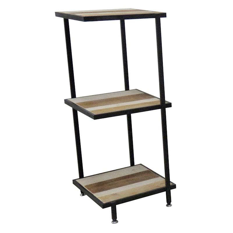3 Tier Wood With Metal Shelf