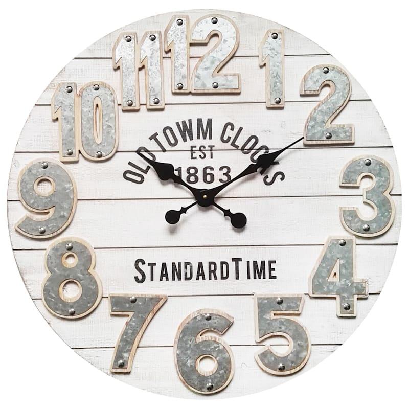 28in. es Round White Wood Wall Clock