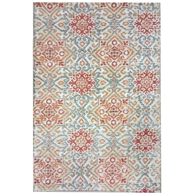 Medallion Multi Color Printed Cotton Accent Rug, 2x4