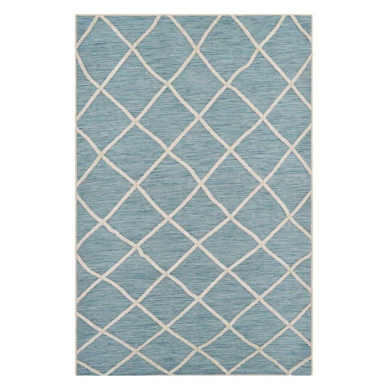 (E282) Aqua & Cream Flatweave Outdoor Soft Moroccan Style Design Rug, 3x5