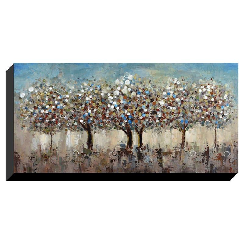27X55 Colorful Trees Enhanced Canvas