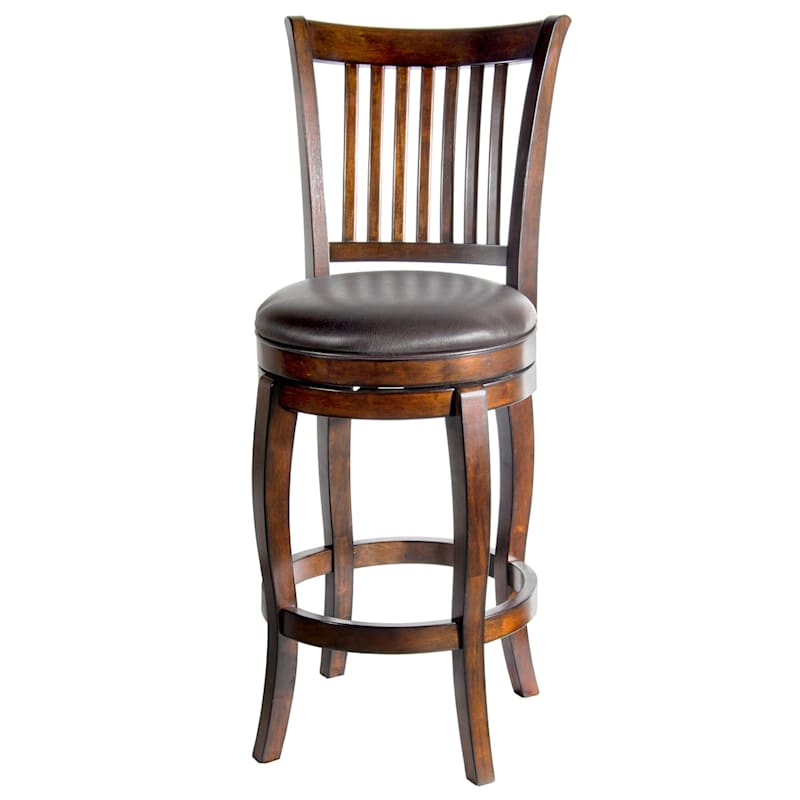 Lauren Brown Swivel Barstool with Faux Leather Upholstered Seat