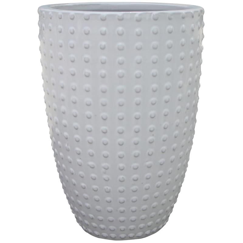 Button Ceramic Planter 13.6in. White