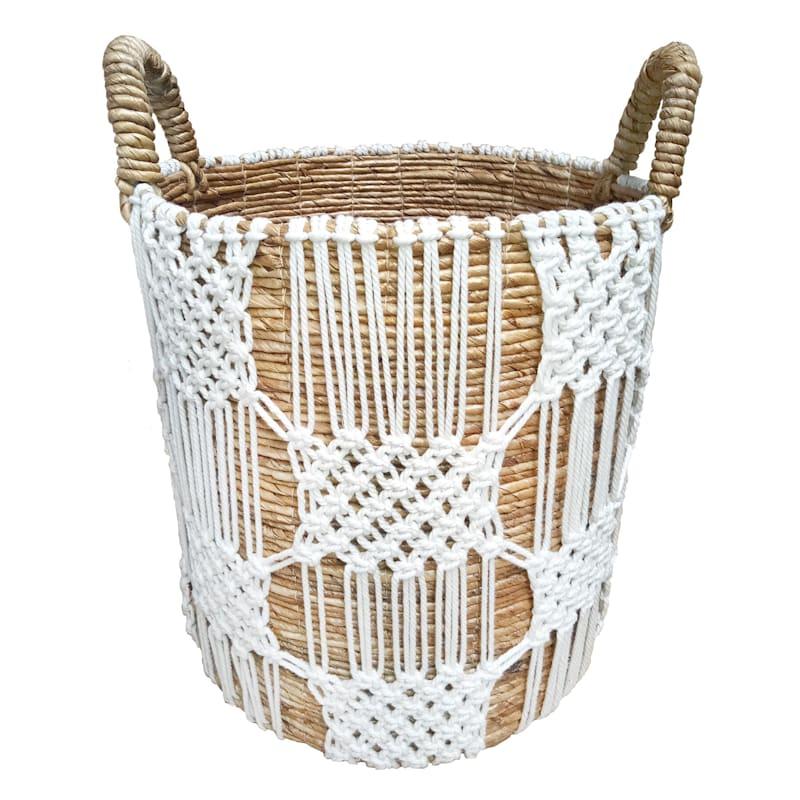 Banana Round Natural Basket/White Macrame Large