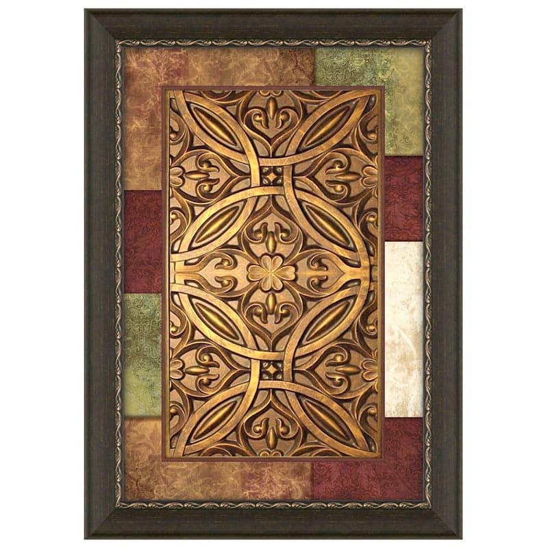 24X36 Jewel Patchwork Medallion Panel Framed Matted Under Glass