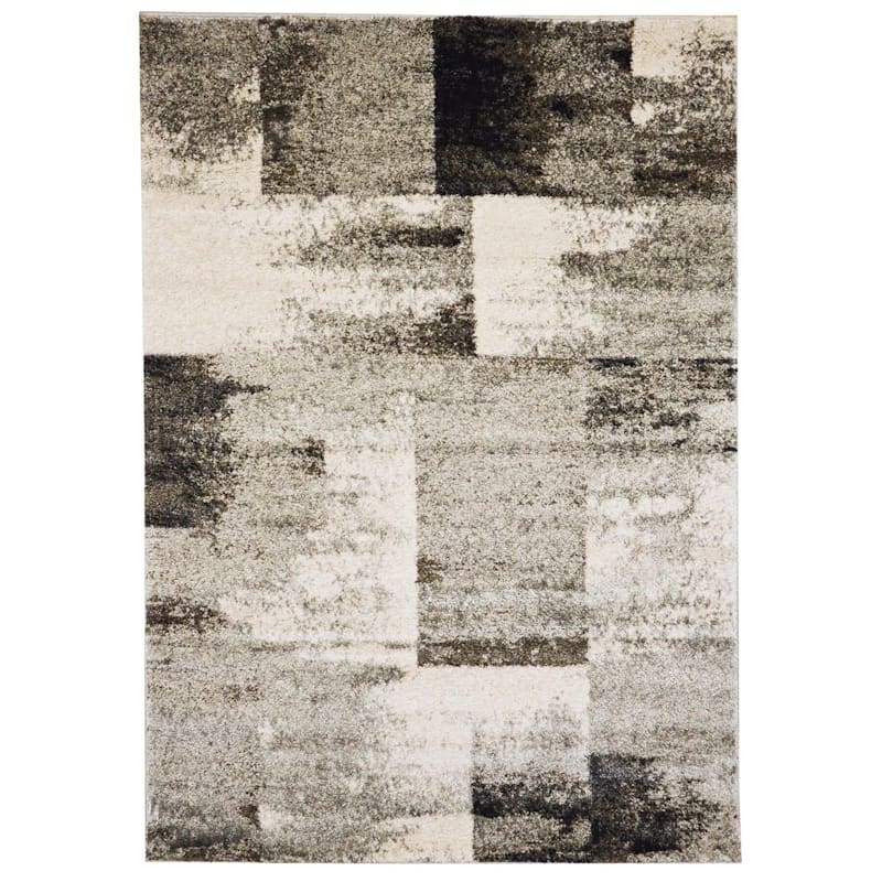(B501) Ivory & Grey Faded Abstract Block Design, 5x8