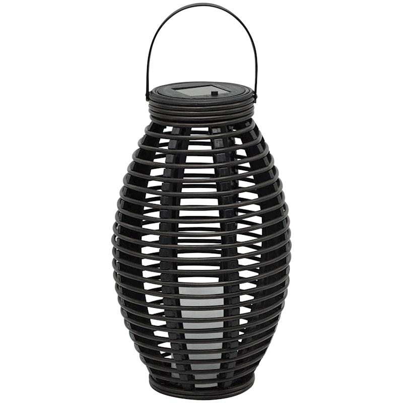 7X13 Black Faux Rattan Solar Lantern