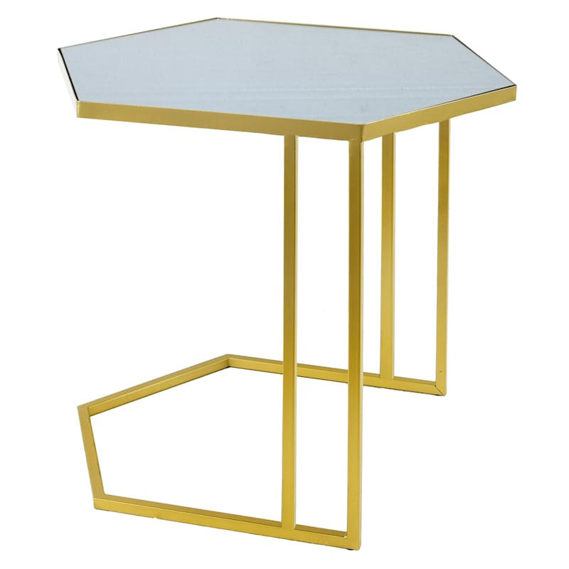 """Deco Metro Gold Metal Geo Table with Black Top, Large (22"""")"""