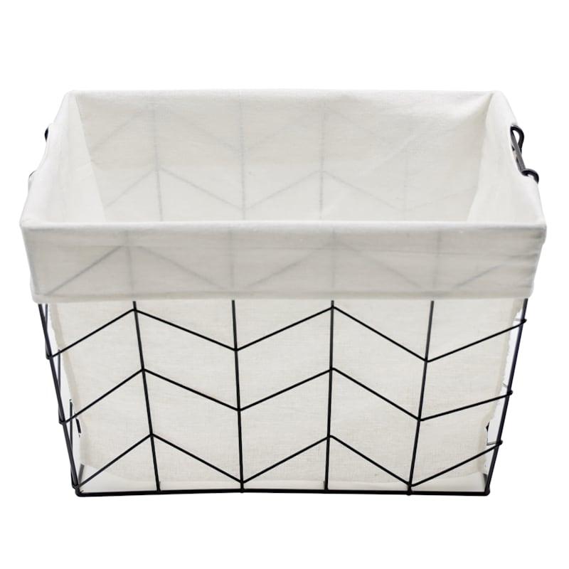 Rectangle Chevron Wire Black Basket W/Handle L