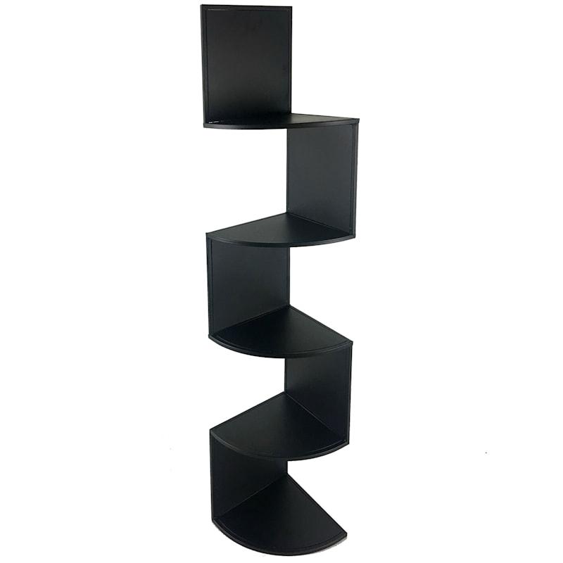 Black 5 Tier Metal Corner Rack