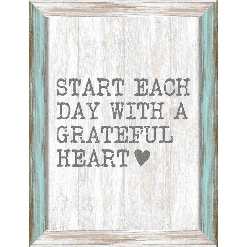 12X16 Start Each Day A Grateful Heart Textured Art Two Tone Frame