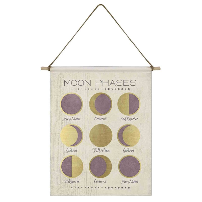 11X14 Moon Phases Canvas Flag With Rope Hanger
