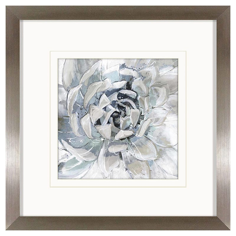 20X20 White Floral Art Framed Matted Under Glass