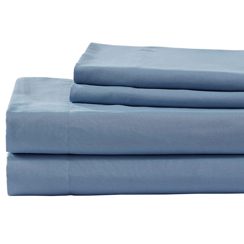 Blue Microfiber 4-Piece Sheet Set Queen
