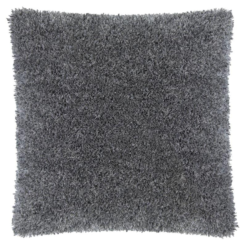 Moove Dark Grey Shag Pillow 18X18