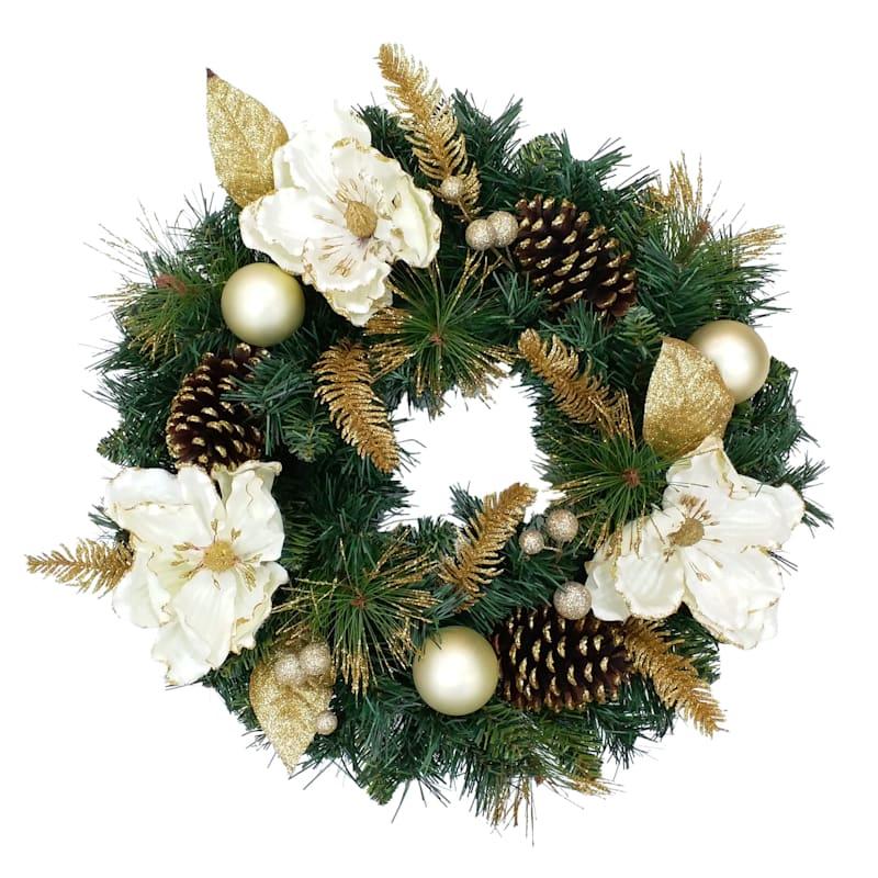"""White Magnolia & Pinecone Wreath, 20"""""""
