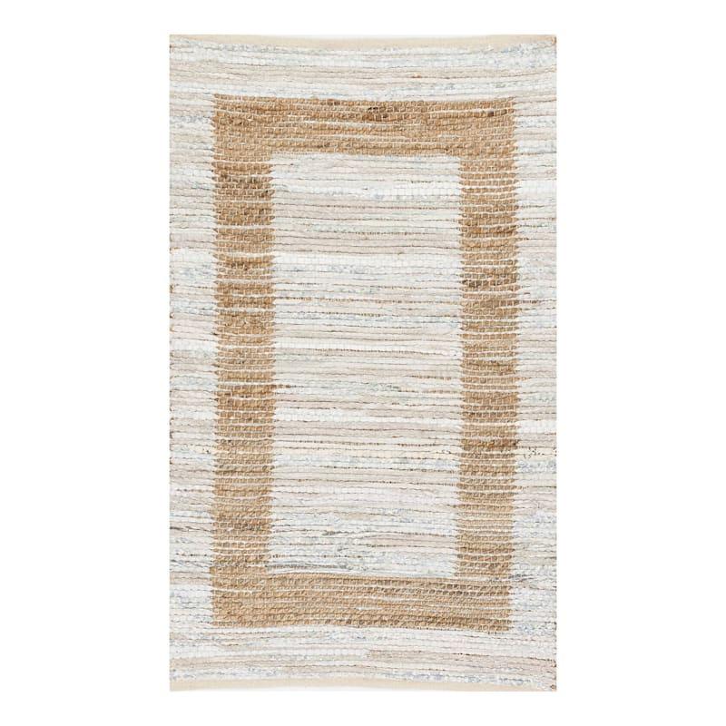 (B312) Henning Hand Woven Cotton & Jute Ivory Chindi Area Rug, 3x5