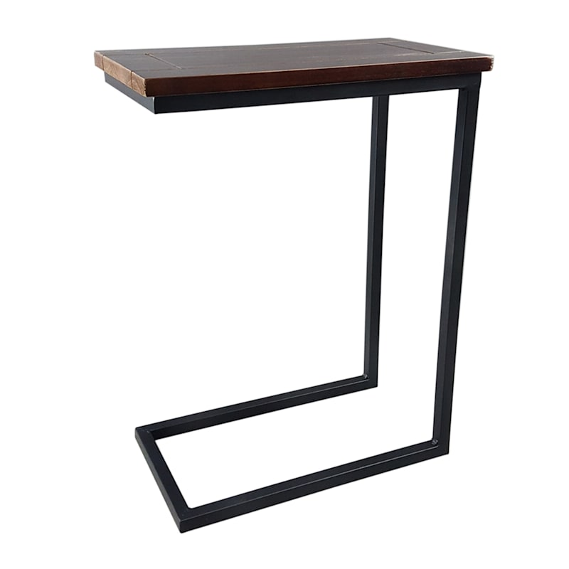 Metal C Table With Solid Wood Top Black