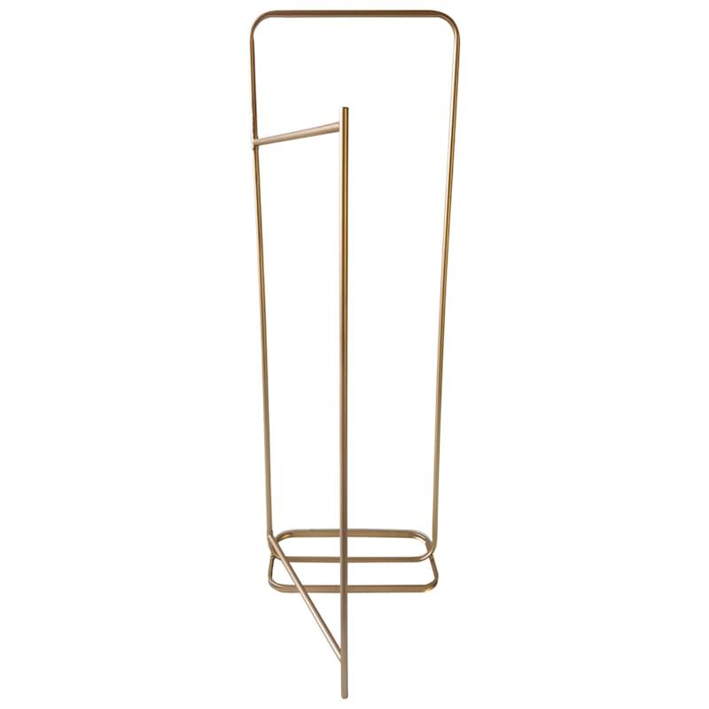 Gold Metal Clothing Rack With Folding Leg