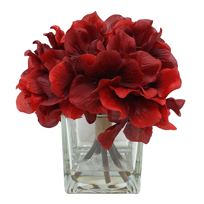 "Red Hydrangea in Glass Vase, 6.5"""