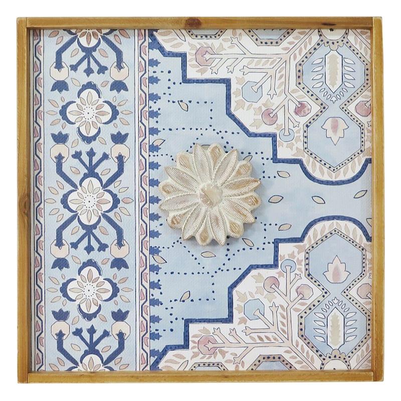 Blue & White Floral Medallion Wall Art, 16x16