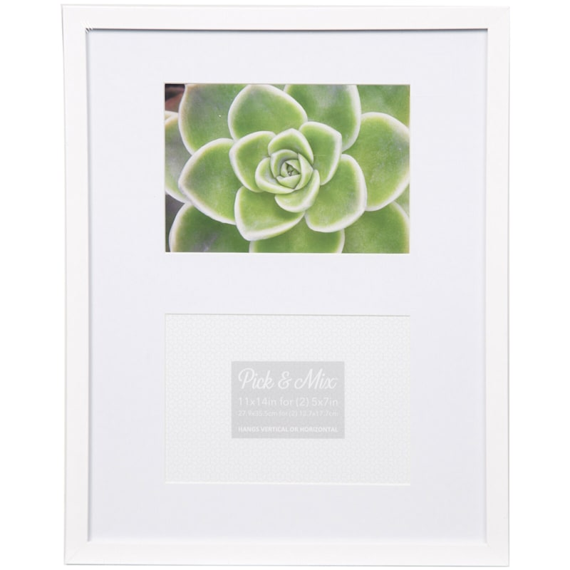 Pick And Mix 2-Opening 5X7 White Mat Linear Collage Photo Frame