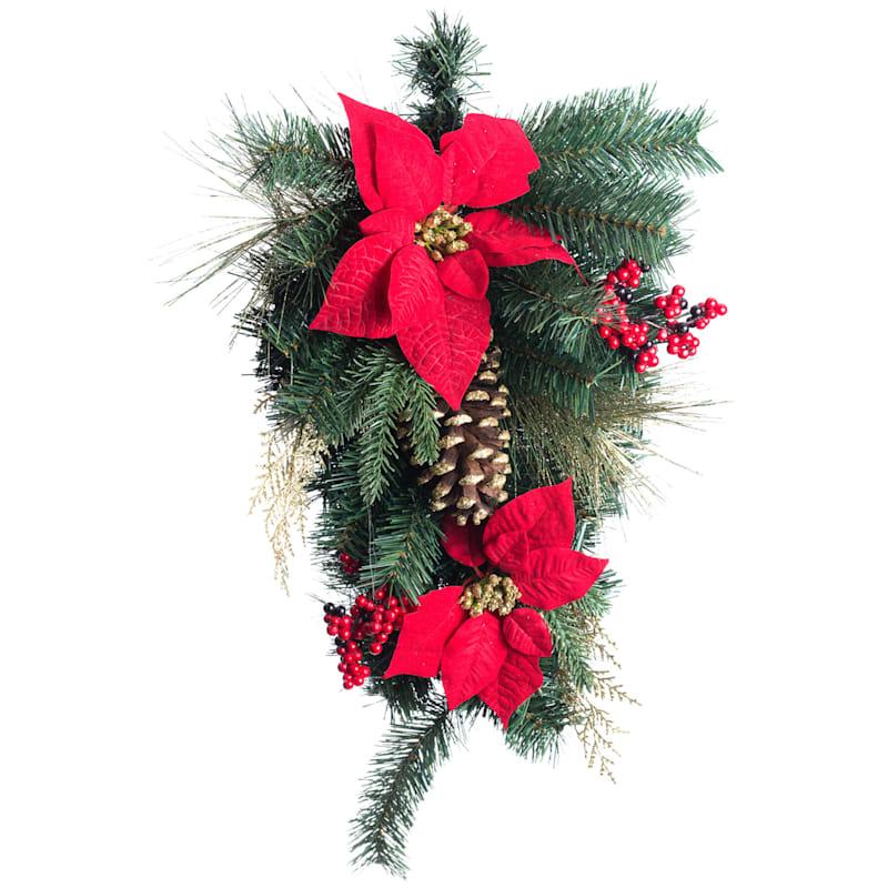 "Red Poinsettias, Berries & Gold Glitter Pinecone Teardrop Wreath, 26"""